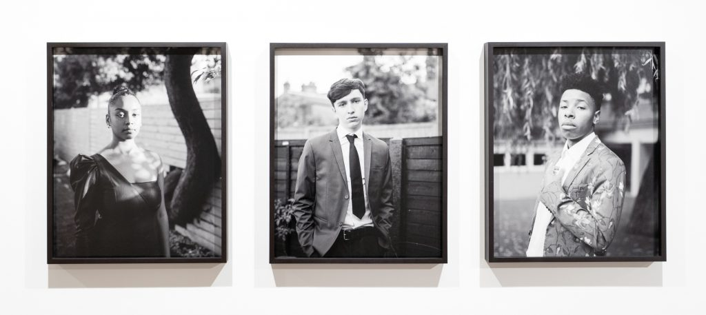 Black and white portraits of young people. Part of the Youth Rising in the UK 1981-2021 exhibition.